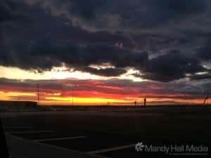 Sunset at the airport