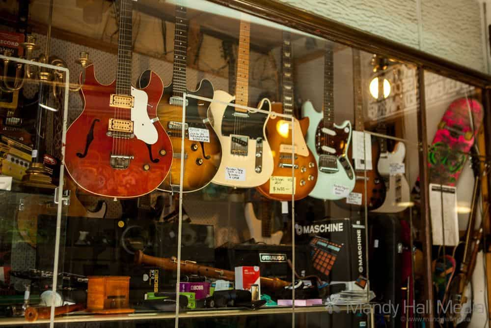 Guitars in a pawn shop