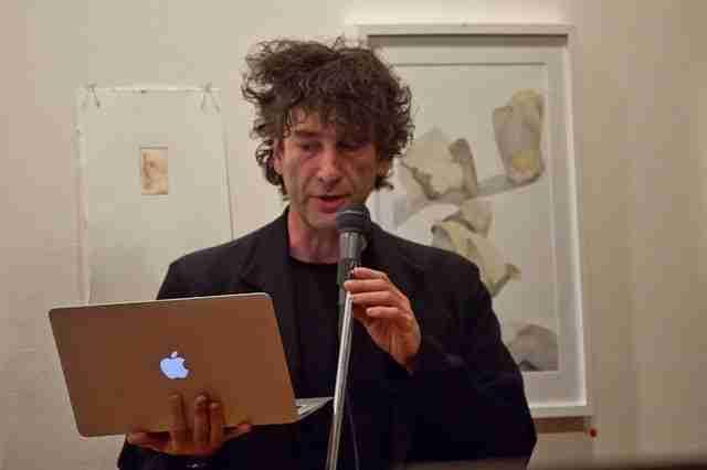 Neil Gaiman at the Amanda Palmer Ninja gig, Melbourne Library Nov 2011