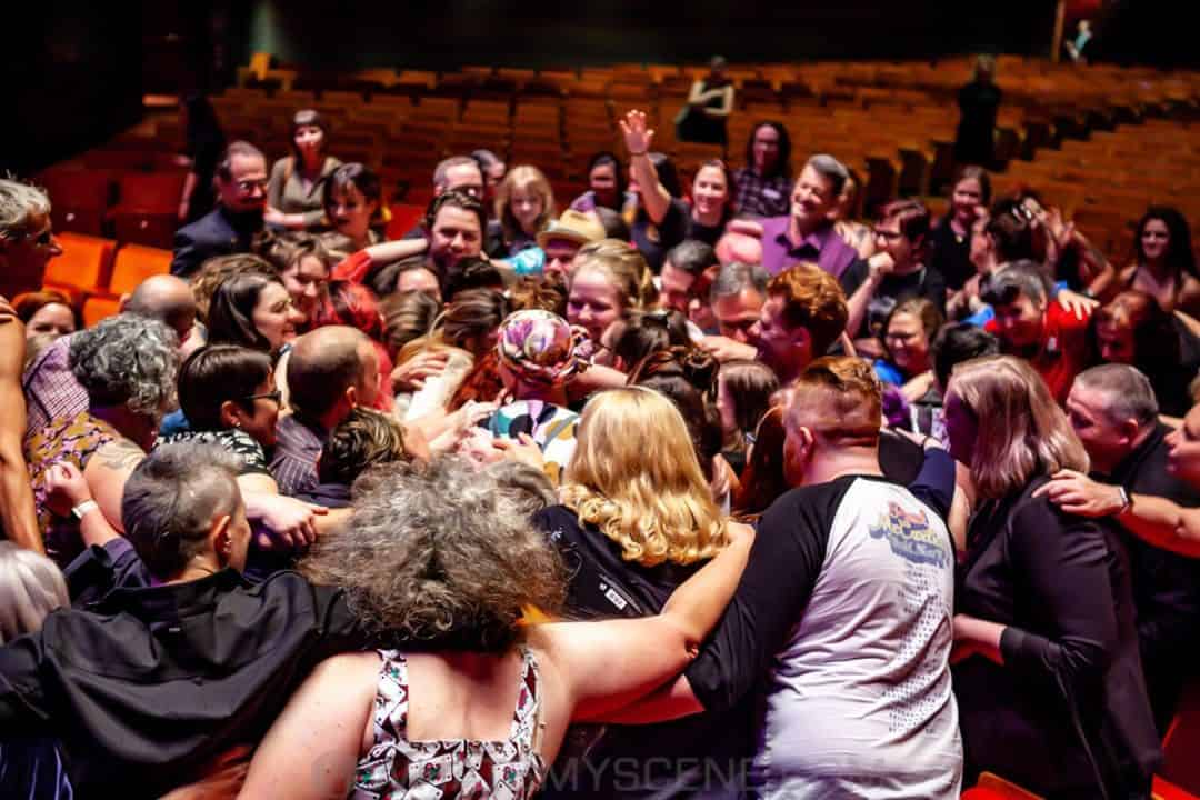 Group hug for Amanda Palmer - There Will Be No Intermission tour, Hamer Hall 22nd January 2020