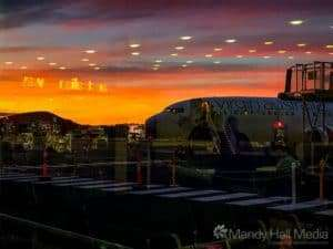 Reflections in the sunset at Hobart airport