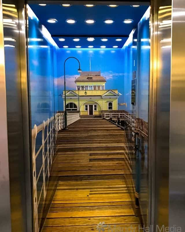 St Kilda Pier in the indside of a lift.