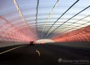 Driving through citylink in Melbourne at sunset
