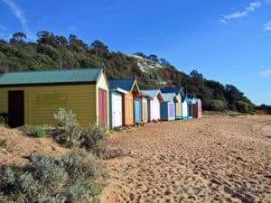 Bathing boxes at the beach